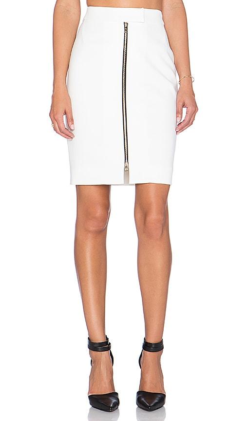 L'AGENCE Corine Zip Front Skirt in White
