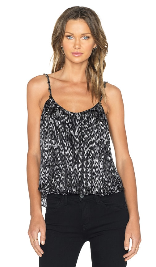 L'AGENCE Baily Moroccan Shirred Tank in Black Antique & Natural Seed