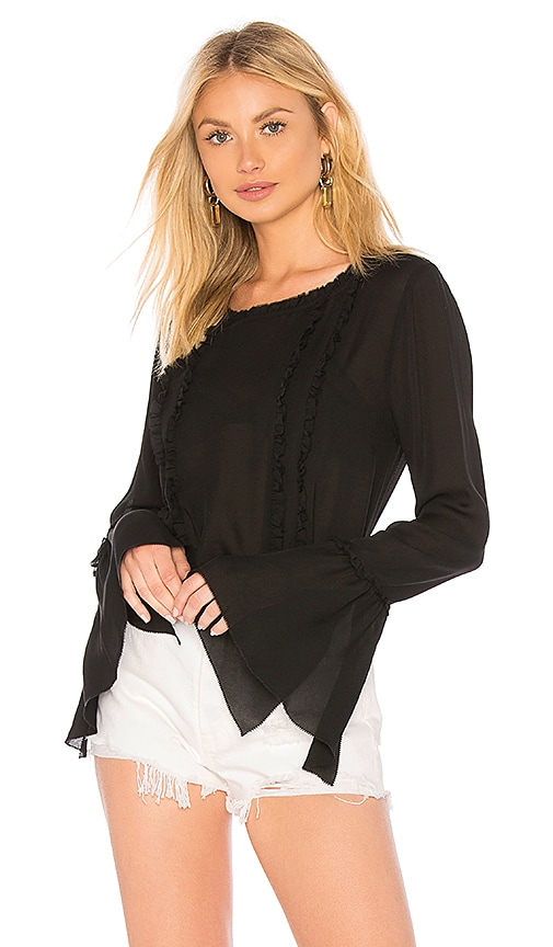 L'AGENCE Gilda Ruffle Top in Black