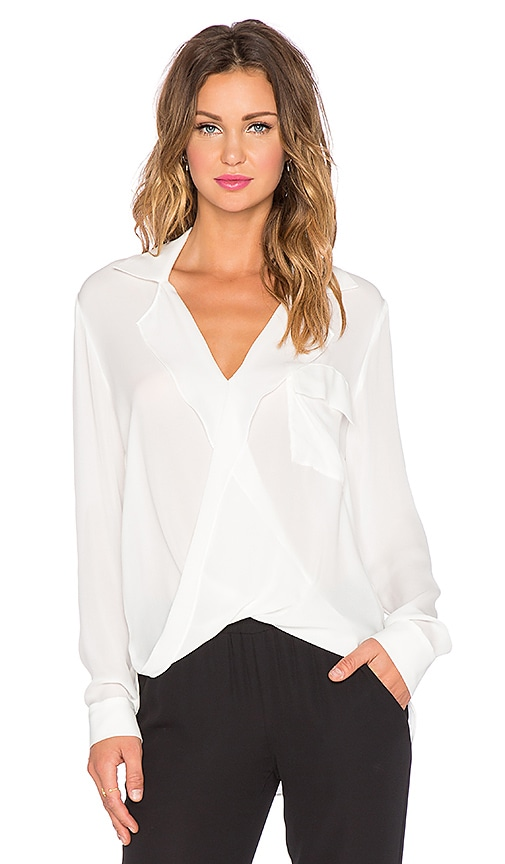 L'AGENCE Lola Drape Front Blouse in Ivory