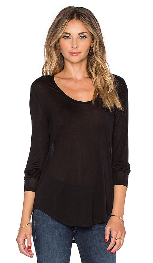 L'AGENCE Fabien Long Sleeve Tee in Black