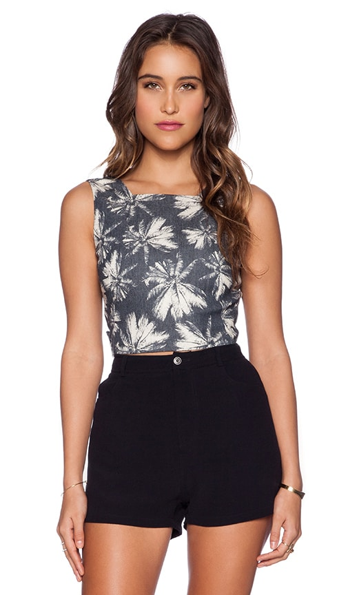 L'AGENCE Open Back Crop Top in Linen Palm & Midnight