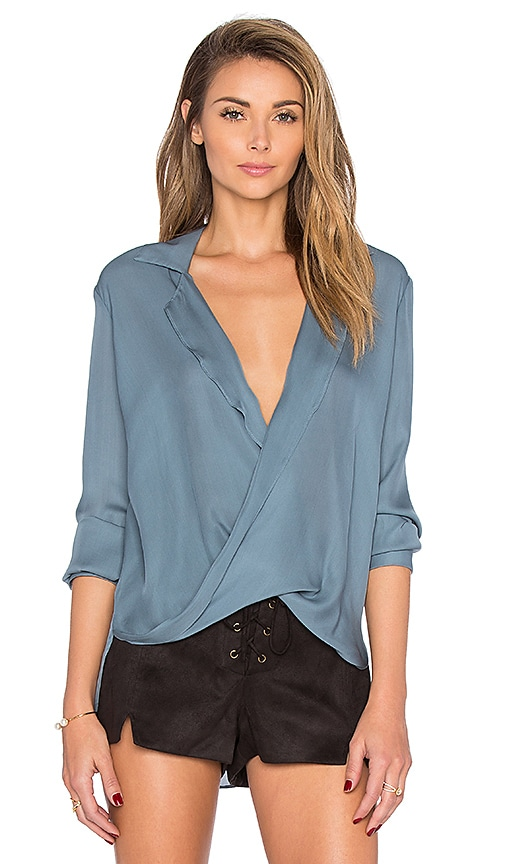 L'AGENCE Rita Drape Blouse in Steel Blue
