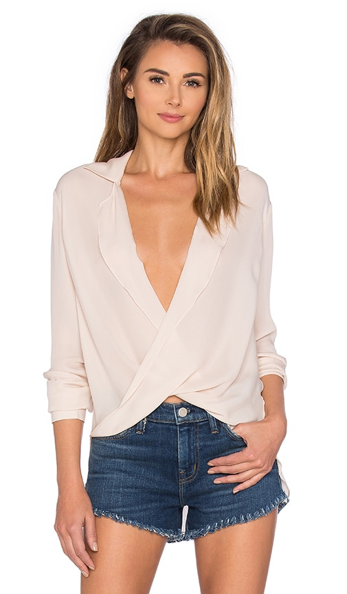 L'AGENCE Rita Drape Blouse in Blush