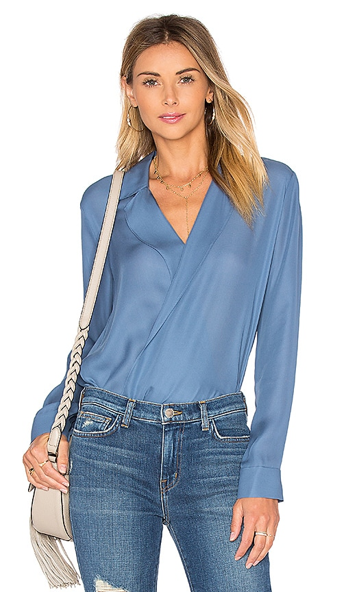 L'AGENCE Rita Drape Front Blouse in Washed Indigo