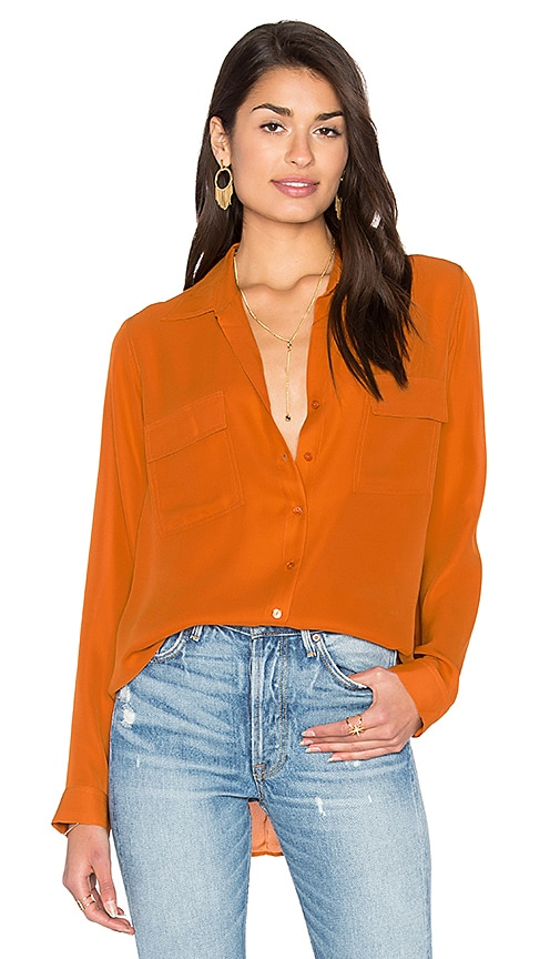 L'AGENCE Margaret Double Pocket Blouse in Orange