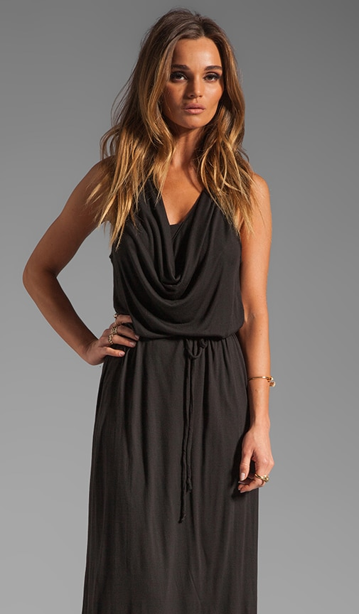 Draped Collar Maxi Dress