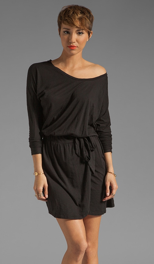 Slub Jersey 3/4 Sleeve Open Neck Dress