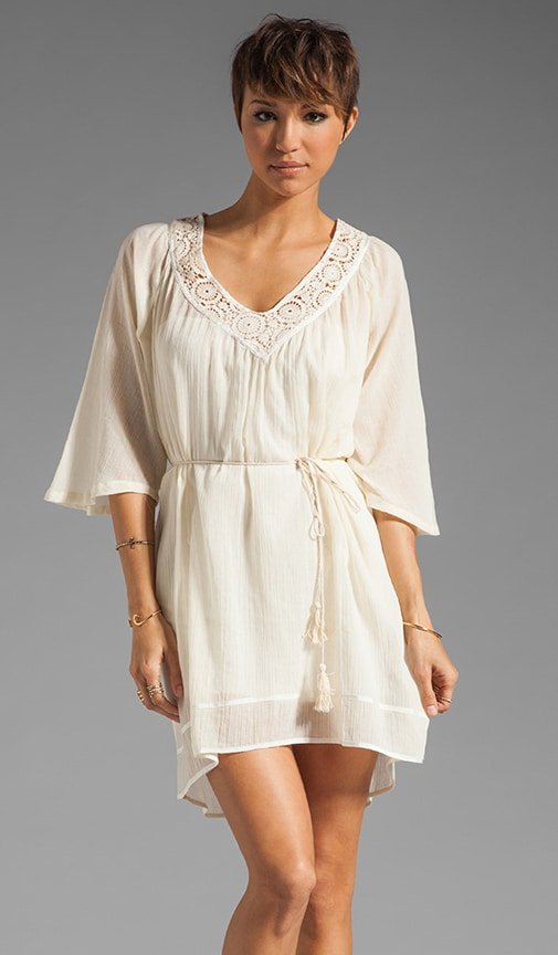 Elbow Sleeve Shirred Dress