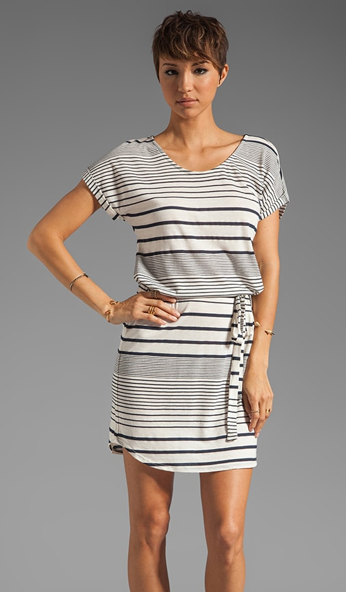 Variegated Stripe Boatneck Belted Dress