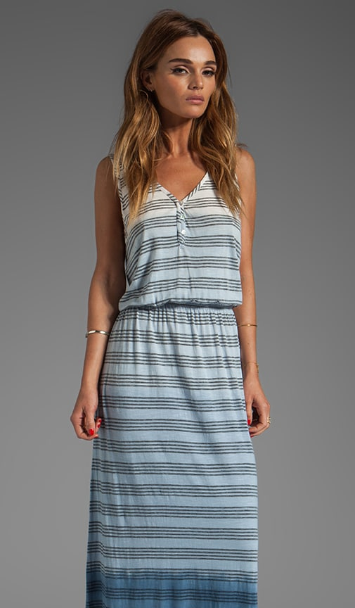 Ombre Stripe V Neck Maxi Dress