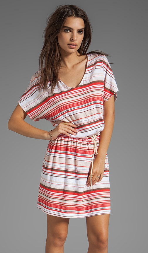Stripe Jersey V Neck Tunic Dress