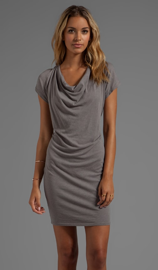 Drape Front Slub Jersey Dress