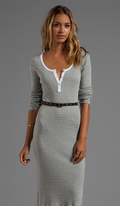 Tea Length 3/4 Sleeves Striped Dress