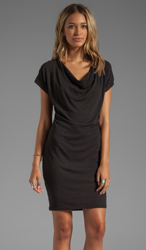 Draped Front Slub Jersey Dress