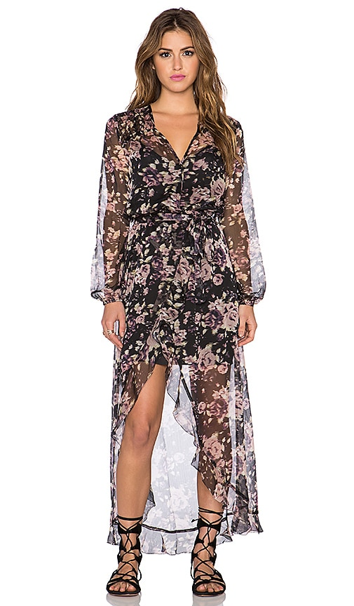 LA Made Eve Cross Front Maxi Dress in Floral Print