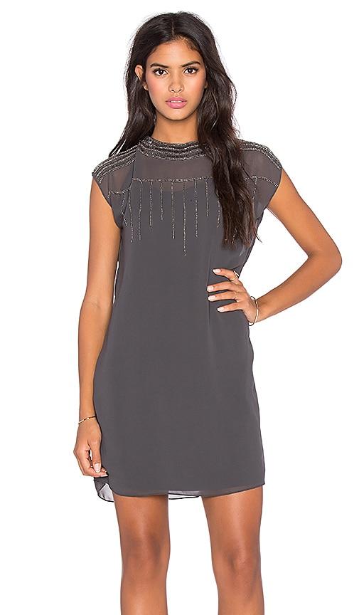 LA Made Beaded Poly Mico Crepe Selma Shift Dress in Raven