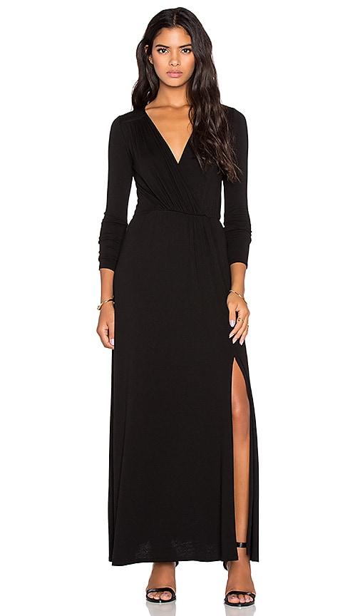 Rayon Crepe Sapphire Surplice Maxi Dress