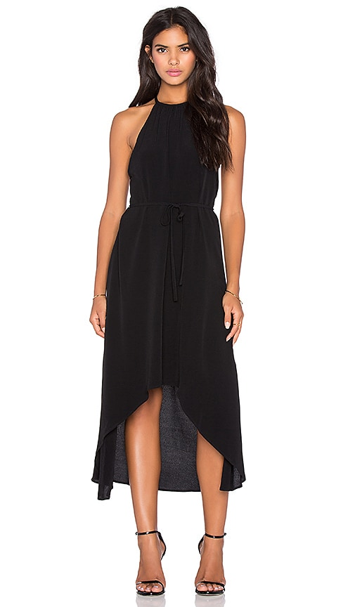 LA Made Viscose Crepe Celine Tulip Dress in Black
