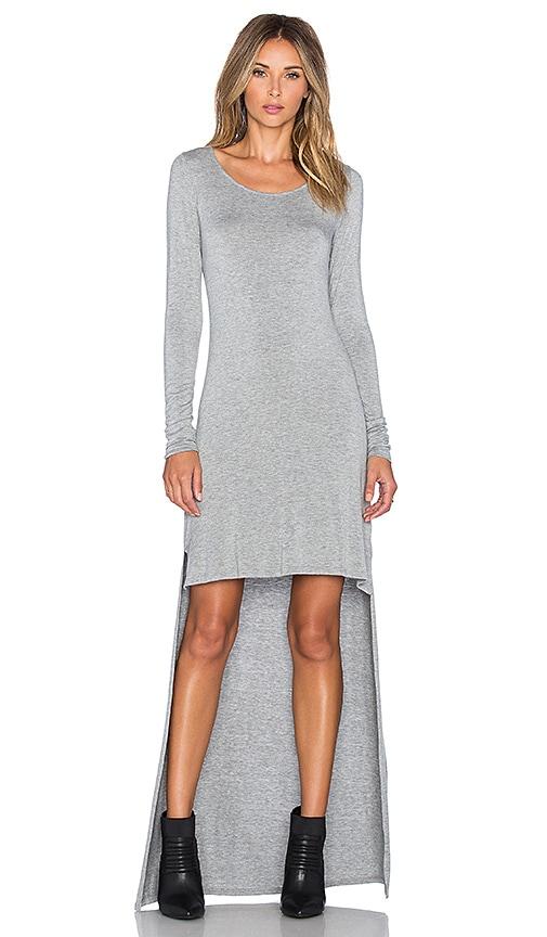 LA Made Micromodal Spandex Hardy Hi Lo Maxi Dress in Heather Grey