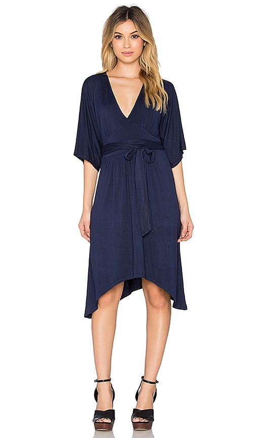 LA Made Micromodal Spandex Oni Kimono Dress in Midnight