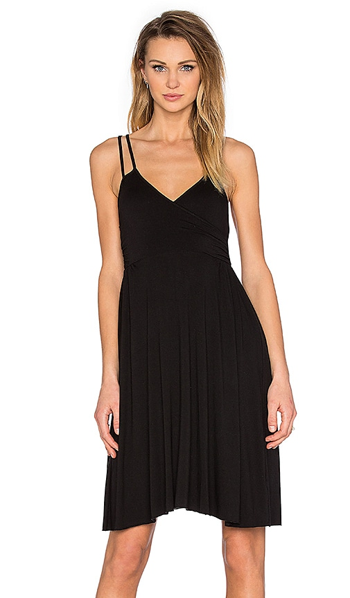 LA Made Asymmetric Wrap Dress in Black