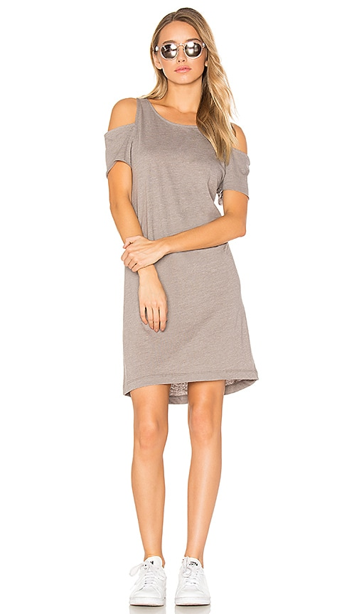 LA Made Zadeth Cold Shoulder Tee Dress in Beige