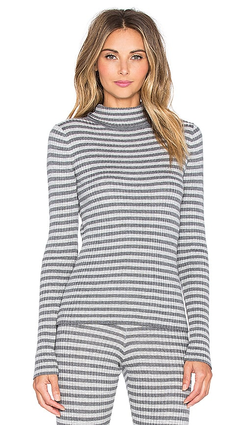 LA Made 4x2 Rib Stripe Sweater Scoop Neck Tee in Heather Grey & Raven