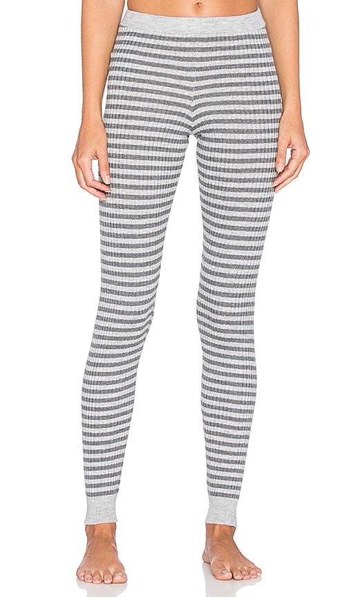 LA Made 4x2 Rib Stripe Sweater Legging in Heather Grey & Raven