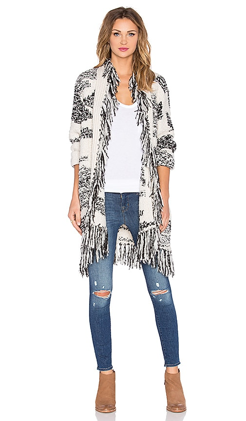 LA Made Pattern Jacquard Lucy Fringe Cardigan in Black & Ivory