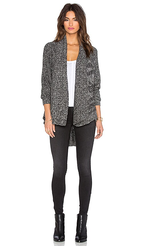 LA Made Lightweight Cable Open Cardigan in Raven