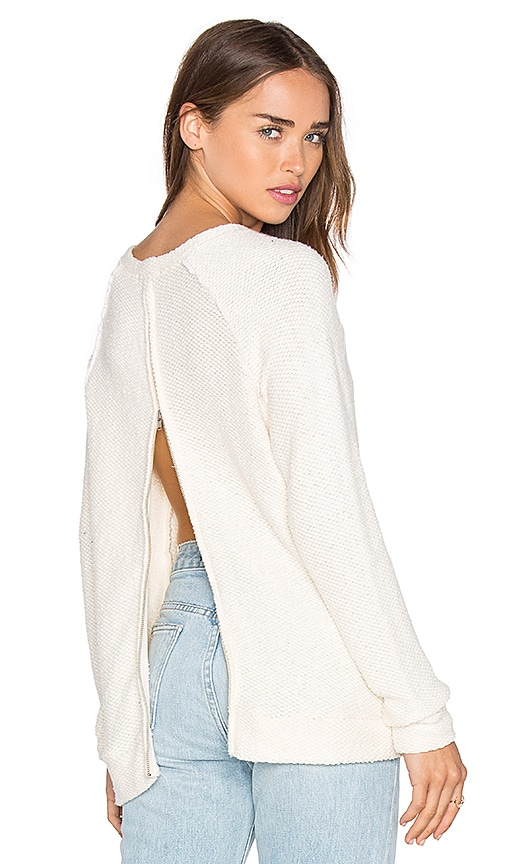 LA Made Eve Zip Back Sweater in Ivory