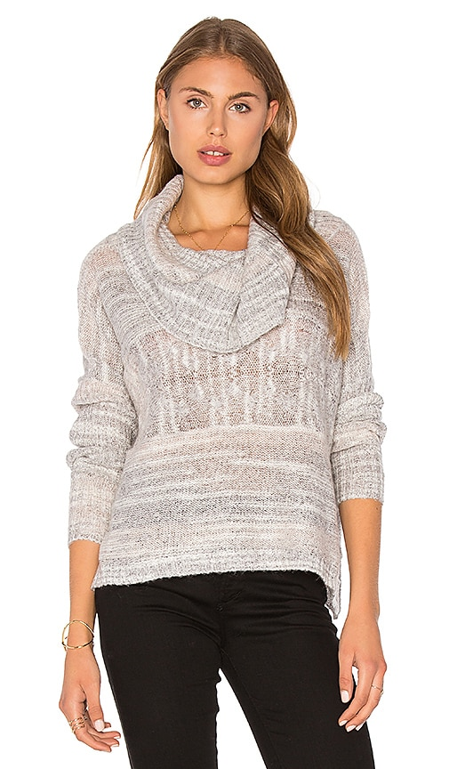 LA Made Jody Cowl Neck Sweater in Light Gray