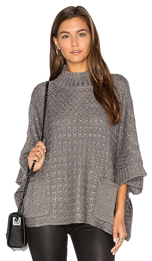 LA Made Lennox Poncho in Charcoal