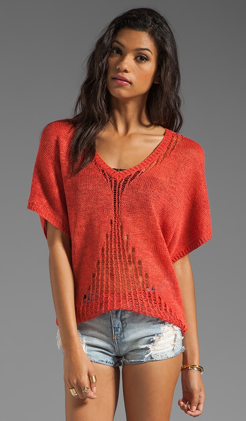 Net Stitch Short Sleeve Sweater
