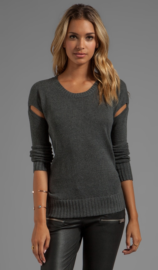 Crew Neck Sweater with Cut-Out Detail