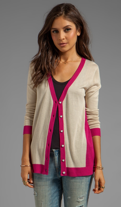 Cardigan with Contrast Bands