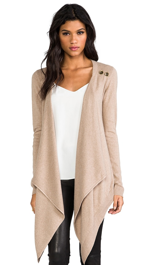 Cashmere Silk Sweater Button Drape Cardi Sweater