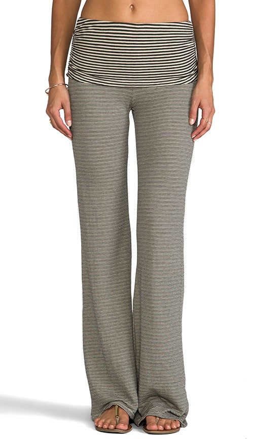 Stripe Double Knit Fold Over Wide Leg Pant