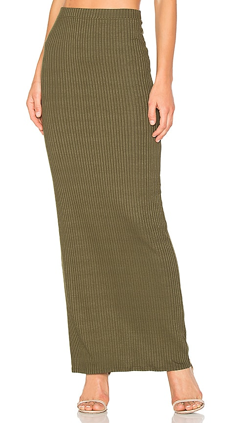 LA Made Lulu Column Maxi Skirt in Green