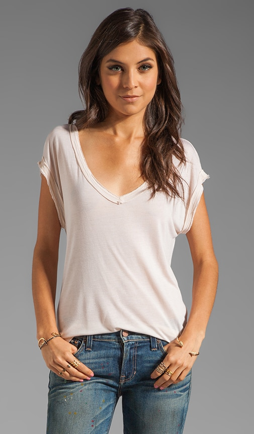 Cap Sleeve Double V Neck Tee