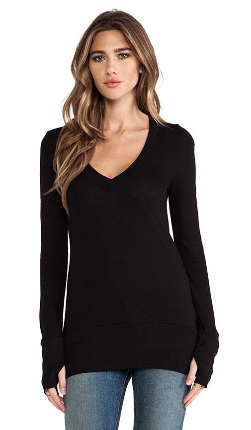 Slub Jersey Long Sleeve V Top