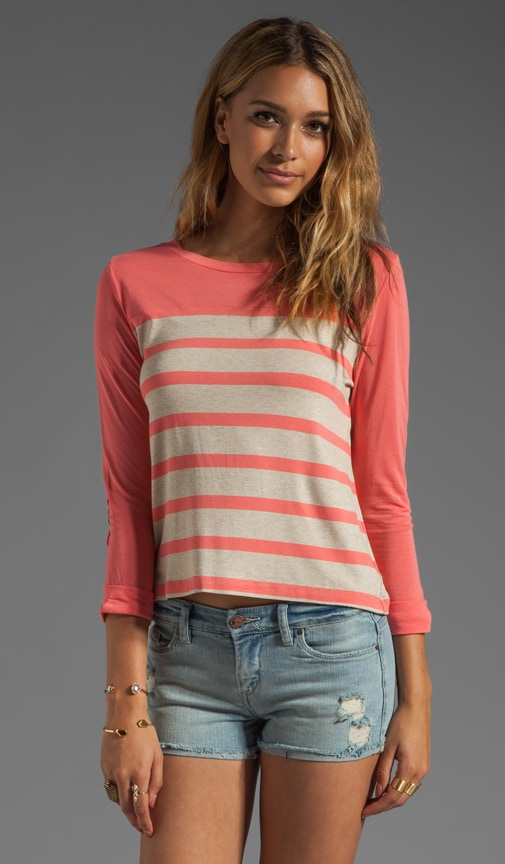Stripe 3/4 Sleeve Boatneck Top