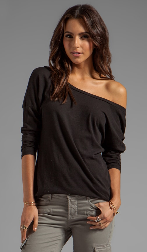 Slub Jersey Long Sleeve Open Back Tee