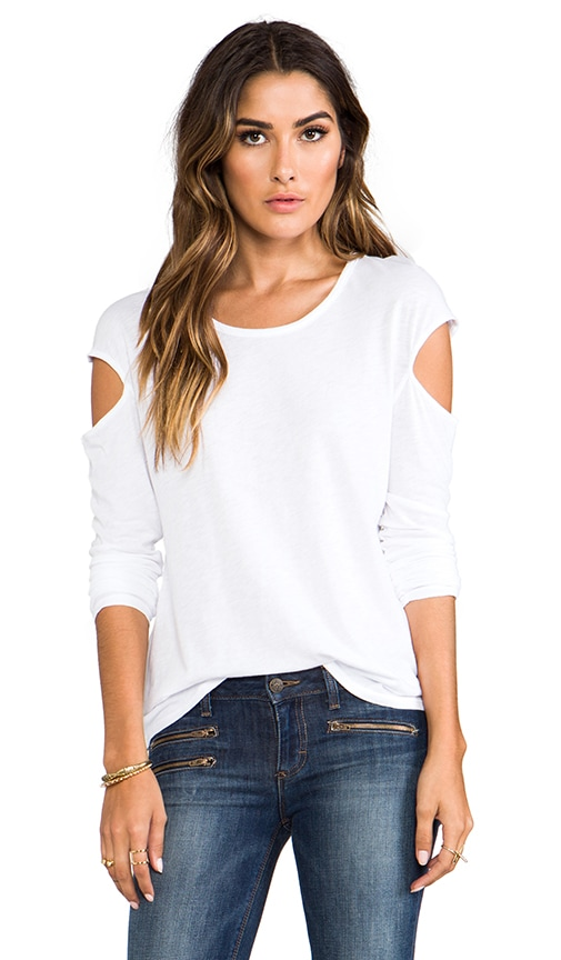 Slub Jersey Long Sleeve Cut Out Top
