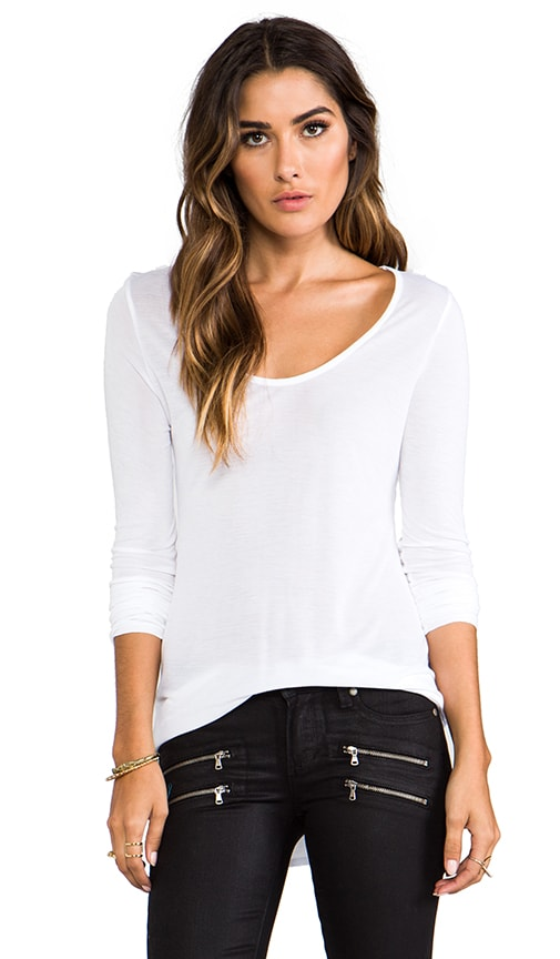 Sheer Jersey Scoop Neck Tee