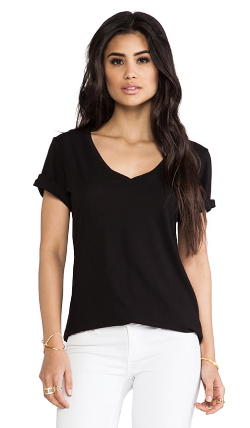 Luxury Jersey Roll Sleeve Staple V Tee