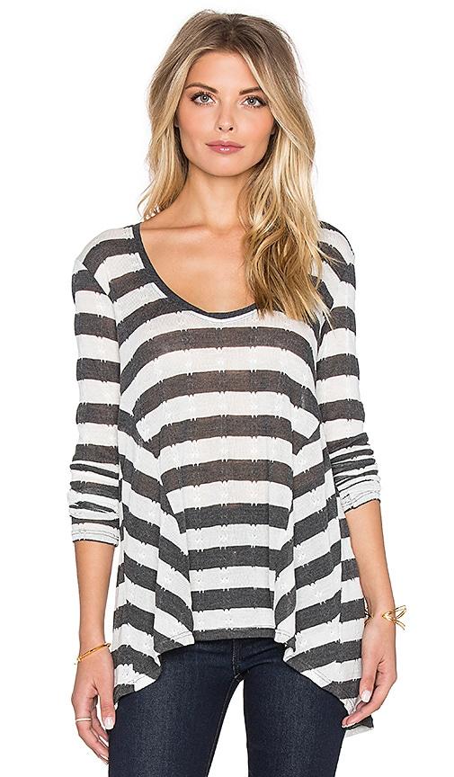 LA Made Pointelle Stripe Gia Long Sleeve Top in Black & Ivory