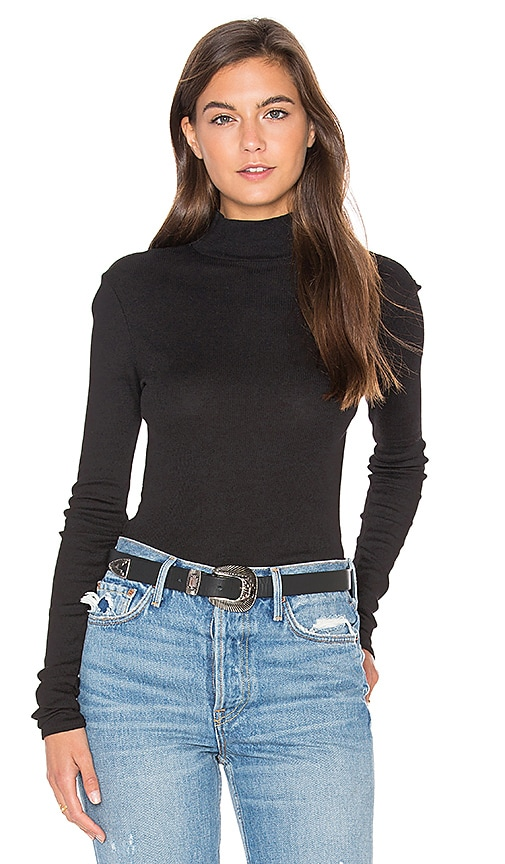 LA Made Sibel Mock Neck Tee in Black