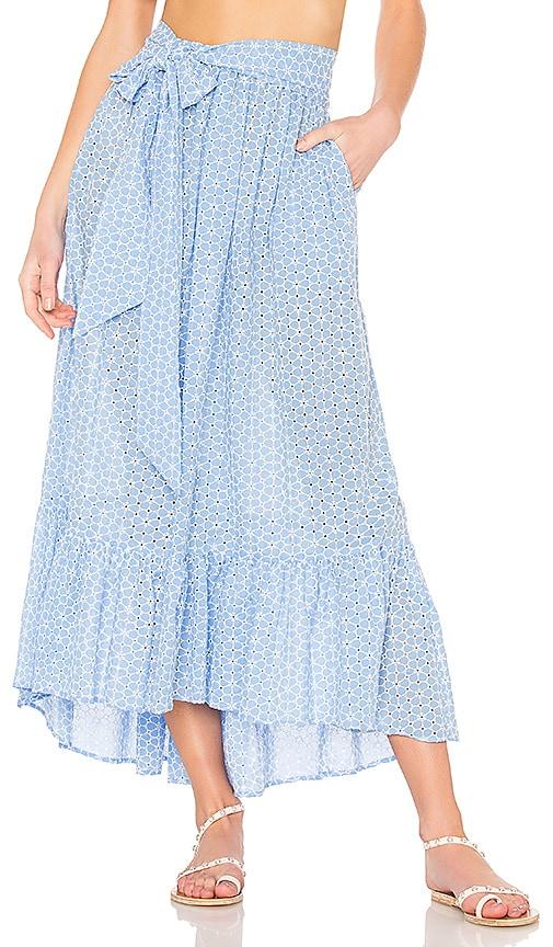 Blue/White Nicole Cotton-Voile Maxi Skirt in Blue Multi